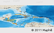 Political Panoramic Map of Central America, shaded relief outside, bathymetry sea