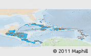 Political Shades Panoramic Map of Central America, lighten