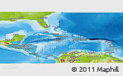 Political Shades Panoramic Map of Central America, physical outside