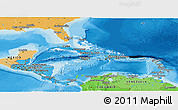 Political Shades Panoramic Map of Central America