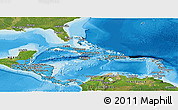 Political Shades Panoramic Map of Central America, satellite outside, bathymetry sea