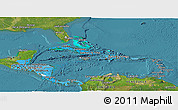 Political Shades Panoramic Map of Central America, satellite outside