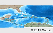 Political Shades Panoramic Map of Central America, semi-desaturated, land only