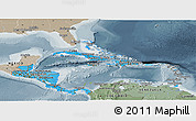 Political Shades Panoramic Map of Central America, semi-desaturated