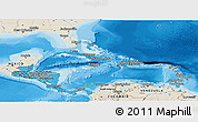Political Shades Panoramic Map of Central America, shaded relief outside, bathymetry sea