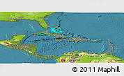 Satellite Panoramic Map of Central America, physical outside, satellite sea