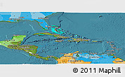 Satellite Panoramic Map of Central America, political outside, satellite sea