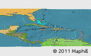 Satellite Panoramic Map of Central America, political shades outside, satellite sea