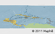 Savanna Style Panoramic Map of Central America, single color outside
