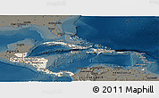Shaded Relief Panoramic Map of Central America, darken