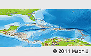 Shaded Relief Panoramic Map of Central America, physical outside