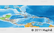 Shaded Relief Panoramic Map of Central America, political outside, shaded relief sea