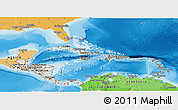 Shaded Relief Panoramic Map of Central America, political shades outside, shaded relief sea