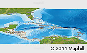 Shaded Relief Panoramic Map of Central America, satellite outside, shaded relief sea