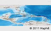 Shaded Relief Panoramic Map of Central America, semi-desaturated, land only
