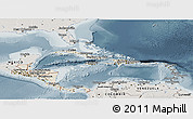 Shaded Relief Panoramic Map of Central America, semi-desaturated