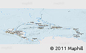 Silver Style Panoramic Map of Central America, single color outside