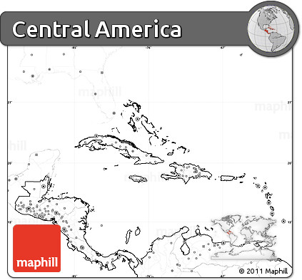 Free Blank Simple Map of Central America no labels