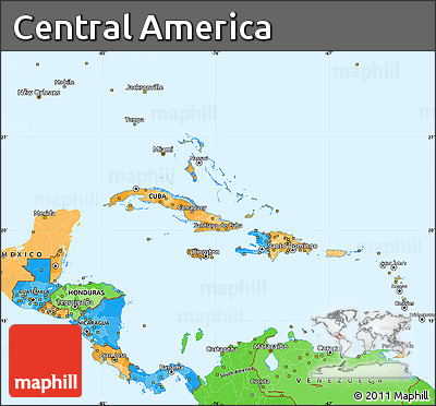 Free Political Simple Map of Central America political shades outside