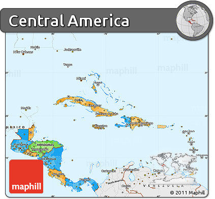 Free Political Simple Map of Central America single color outside
