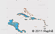 Political Shades Simple Map of Central America, cropped outside