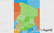 Political Shades 3D Map of Chad