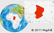 Physical Location Map of Chad, highlighted continent