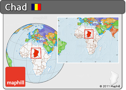 Free Political Location Map of Chad highlighted continent within
