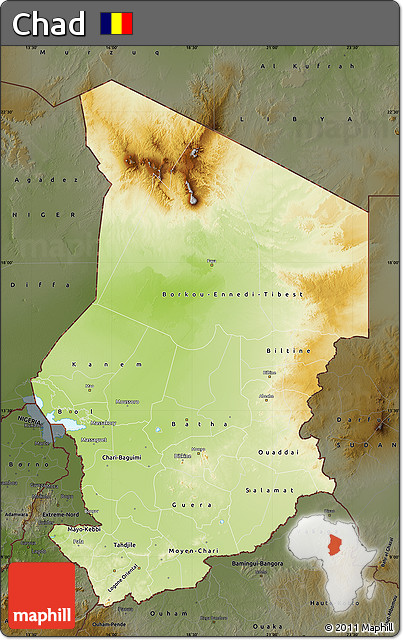 chad africa map physical