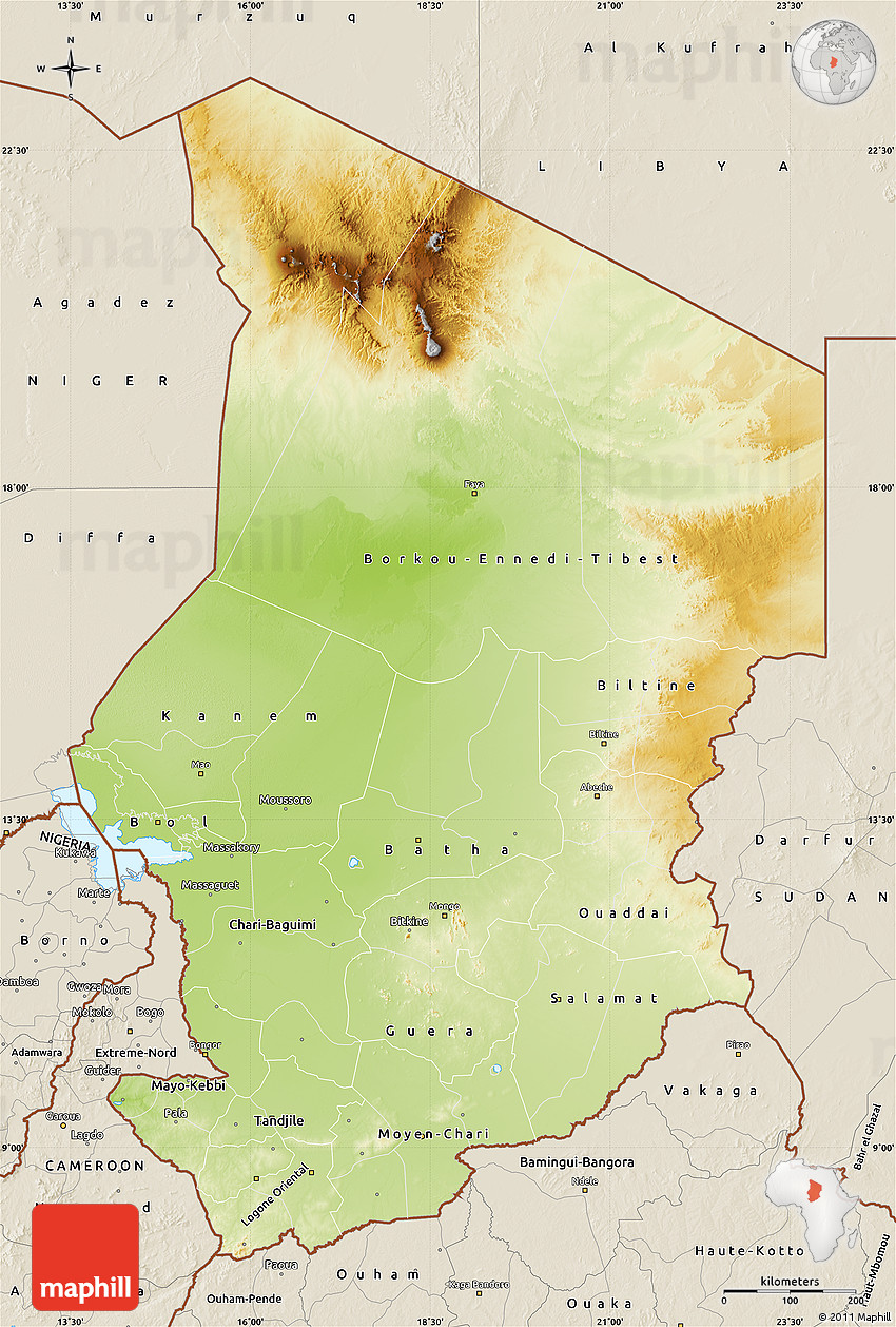 Physical Map of Chad, shaded relief outside