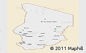 Classic Style Panoramic Map of Chad, single color outside