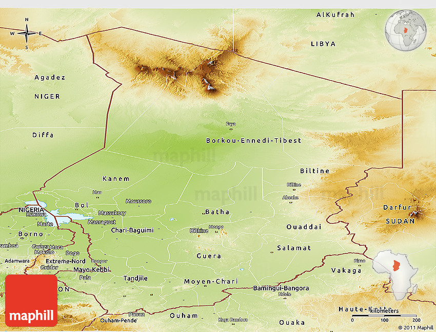 Physical Panoramic Map Of Chad - Chad map
