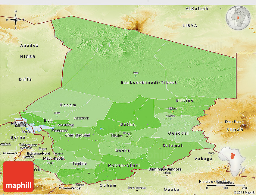 Political Shades Panoramic Map of Chad physical outside