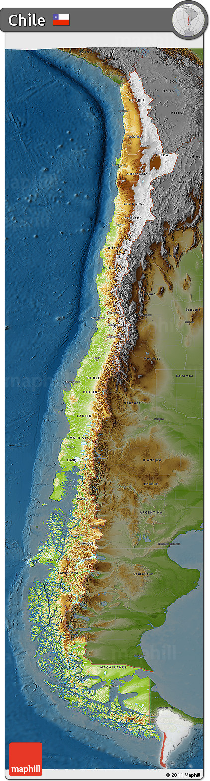 Free Physical 3D Map of Chile darken