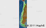 Political Shades 3D Map of Chile, darken