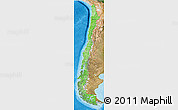 Political Shades 3D Map of Chile, satellite outside, bathymetry sea