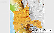 Political Shades Map of ARICA, physical outside