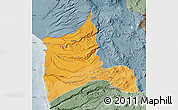 Political Shades Map of ARICA, semi-desaturated