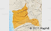 Political Shades Map of ARICA, shaded relief outside