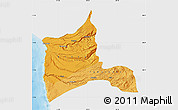 Political Shades Map of ARICA, single color outside