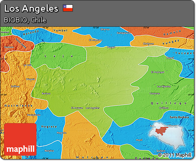 Free Physical Map Of Los Angeles Political Outside