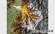 Physical Map of Machali, darken