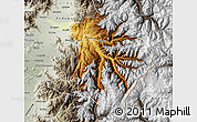Physical Map of Machali, semi-desaturated