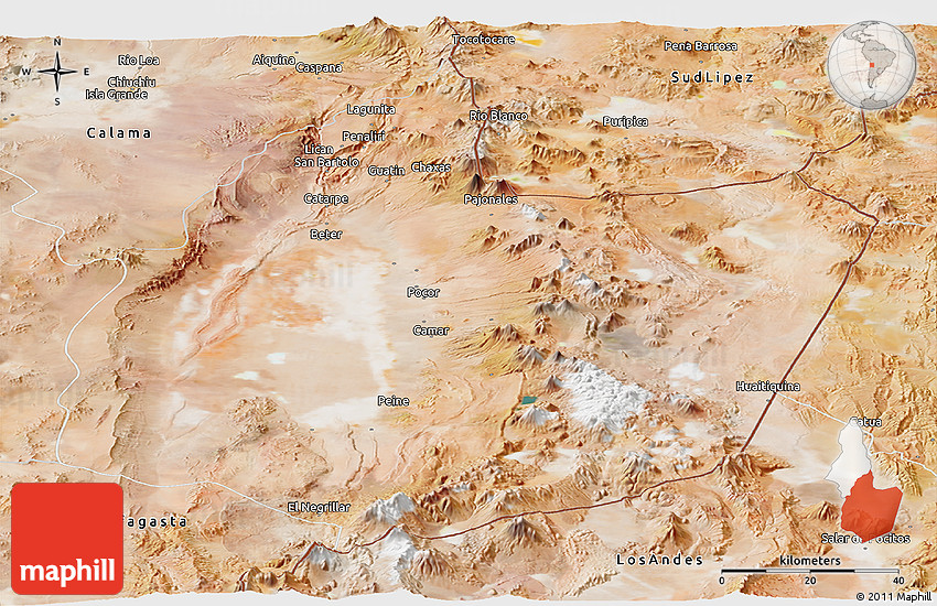 Satellite Panoramic Map Of San Pedro De Atacama The atacama desert is one of chile's most exciting places to visit, comprising as it does. maphill