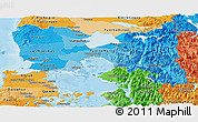 Political Shades Panoramic Map of LLANQUIHUE