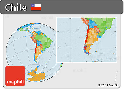 Free Political Location Map Of Chile - Chile location
