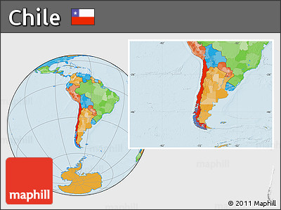 Free Political Location Map Of Chile - Political map of chile