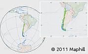 Political Location Map of Chile, lighten, semi-desaturated