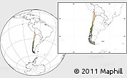 Satellite Location Map of Chile, blank outside