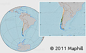 Satellite Location Map of Chile, gray outside, hill shading